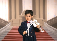 Asian boy with violin